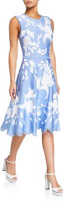 Carolina Herrera Floral Jacquard Eyelet-Hem Dress