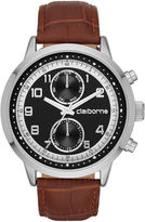 Claiborne Mens Black Dial Brown Leather Strap Watch