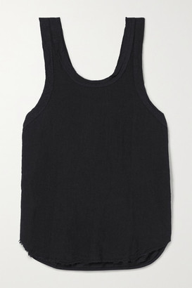 Bassike Organic Cotton-trimmed Frayed Linen-jersey Tank - Black
