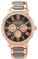 Vince Camuto Women's VC/5001RGTT Swarovski Crystal Accented Brown and Rosegold-Tone Multi-Function Bracelet Watch