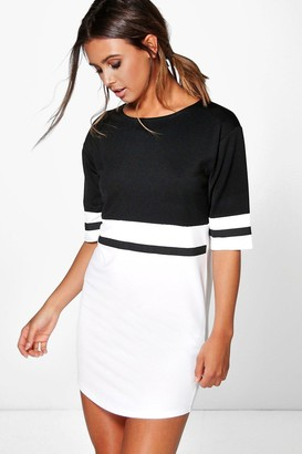 boohoo Petite Curve Hem Colour Block Shift Dress