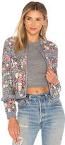 Needle & Thread Floral Jet Bomber in Blue. - size 0 (also in 2,4,6)