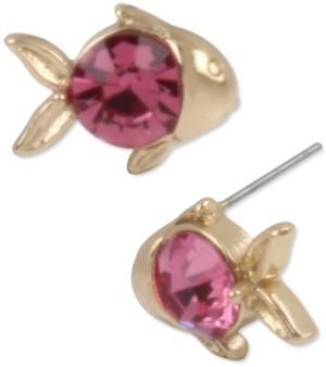 Betsey Johnson Gold-Tone Crystal Fish Stud Earrings