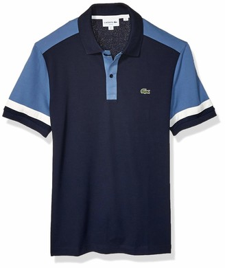 Lacoste Mens Short Sleeve Pima Stretch Pique Color-Block Slim Fit Polo Polo Shirt
