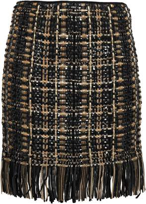 Balmain Leather-trimmed Embellished Wool And Silk-blend Mini Skirt