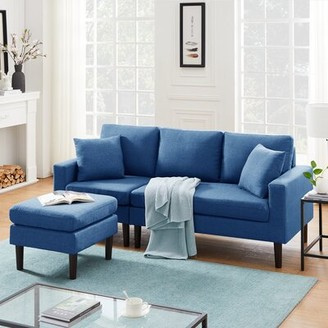 "Corrigan Studio Lipman 54.72"" Wide Reversible Sofa & Chaise with Ottoman Fabric: Navy Blue"