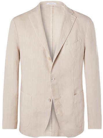 Boglioli Cream K-Jacket Slim-Fit Unstructured Linen Suit Jacket