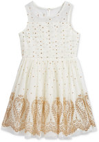 Sequin Hearts Glitter Detail Mesh Dress, Big Girls (7-16)