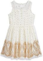 Sequin Hearts Glitter Detail Mesh Dress, Big Girls (7-16)