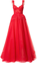 Monique Lhuillier lace-embroidered flared ball gown