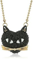 "Betsey Johnson Skeletons After Dark"" Pave Cat Pendant Necklace, 16"" + 3"" Extender"