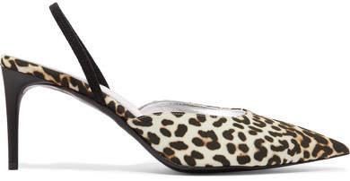 Stella McCartney Leopard-print Satin Slingback Pumps - Leopard print