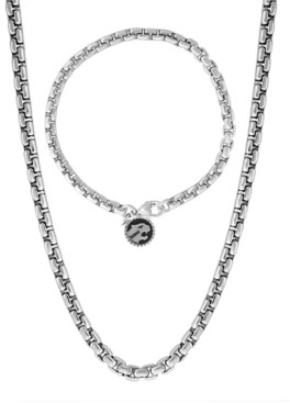 """Effy 2-Pc. Set Men's Rounded Box Link 22"""" Chain Necklace & Matching Logo Bracelet in Sterling Silver"""