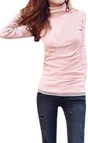 uxcell Women Turtle Neck Long Sleeve Pullover Slim Fit Casual T-Shirt