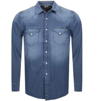 Replay Long Sleeved Denim Shirt Blue