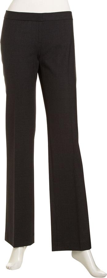 Lafayette 148 New York Stretch Wool Straight-Leg Pants, Smoke