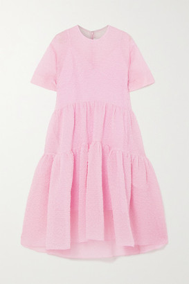 Victoria Victoria Beckham Asymmetric Tiered Cloque Midi Dress - Pastel pink