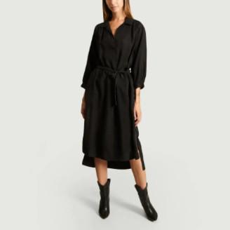 Closed Black Cupro and Viscose Shirt Dress - black | Cupro and Viscose | s - Black/Black