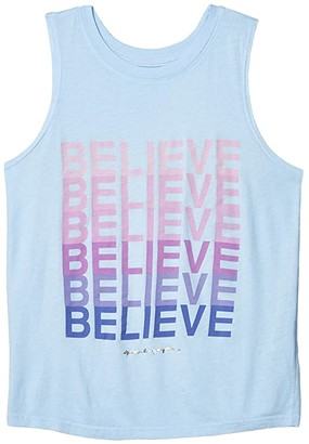 Spiritual Gangster Kids Believe Muscle Tank Top (Toddler/Little Kids/Big Kids) (Chambray) Girl's Sleeveless