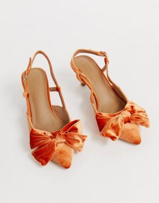 Asos Design DESIGN Sherry bow kitten heels in burnt orange