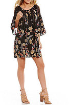 Angie Floral-Print Bell-Sleeve Cold-Shoulder Crochet-Inset Shift Dress