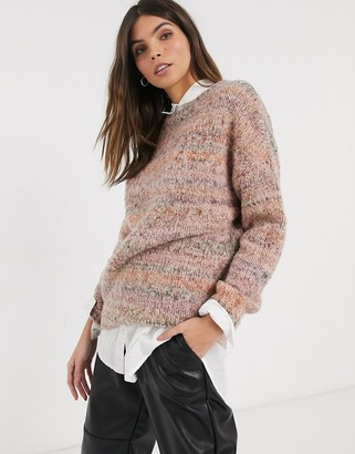 Esprit space dye knitted sweater in mauve