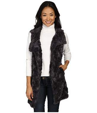 True Grit Dylan By Dylan by Plush Faux Classic Silky Fur Long Snap Vest (Charcoal) Women's Vest