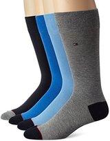 Tommy Hilfiger Men's 4 Pack Bonus Contrast Heel Toe Crew Sock