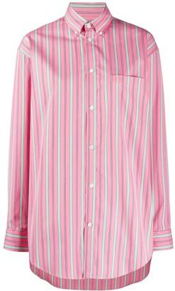 Balenciaga Vertical-Stripe Oversized Shirt