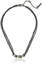 Kenneth Cole New York Black and Gold Pave Square Necklace, 18""