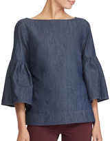 Lauren Ralph Lauren Petite Denim Cotton Bell Sleeve Blouse