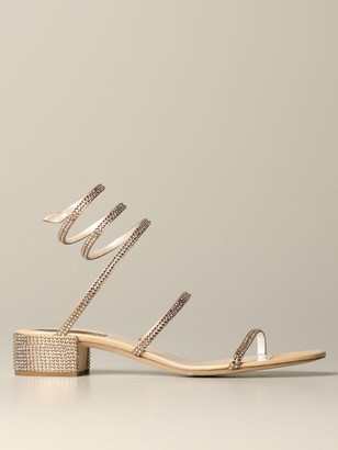 Rene Caovilla High Heel Shoes Snake Sandal With Rhinestones