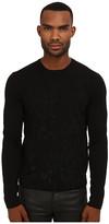 Just Cavalli Long Sleeve Crew Neck Flocked Leopard Sweater