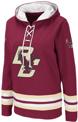 Colosseum Women's Maroon Boston College Eagles Striped Lace-Up Pullover Hoodie