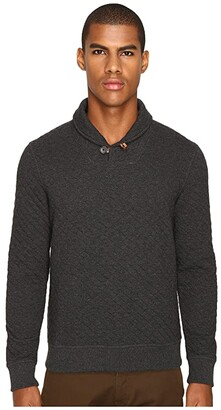 Billy Reid Diamond Quilted Shawl Sweater w/ Elbow Patches (Black) Men's Sweater