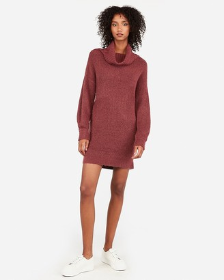 Express Ribbed Cowl Neck Shift Sweater Dress