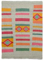 Fair Trade Geometric Wool Area Rug, 'Geometric Colors'