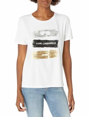 Karl Lagerfeld Paris Women's TRI-Color KLP TEE