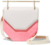 M2Malletier Amor Fati Two-tone Suede And Leather Shoulder Bag - Pink