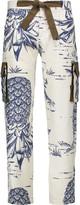 Sea Printed cotton and silk-blend straight-leg pants