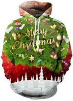 Uideazone Lady Print Merry Christmas Sweatshirt Ugly Xmas Sweater Hoodie Red