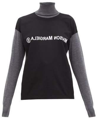 MM6 MAISON MARGIELA Deconstructed Logo-print Wool Roll-neck Sweater - Womens - Black Multi