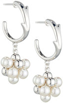 Majorica Holly Pearl Cluster Hoop Drop Earrings, White