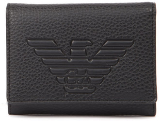 Emporio Armani Embossed Logo Black Faux Leather Wallet