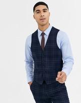 Rudie heritage check skinny fit waistcoat-Navy