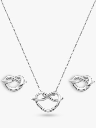 Hot Diamonds Twist Heart Pendant Necklace and Stud Earrings Gift Set, Silver