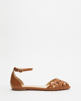 Atmos & Here Atmos&Here - Women's Brown Flat Sandals - Dana Leather Woven Flats - Size 5 at The Iconic