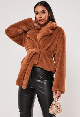 Missguided Rust Faux Fur Belted Jacket