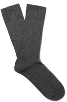 John Smedley Pontus Ribbed Sea Island Cotton-blend Socks