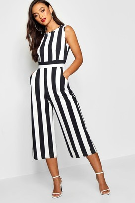 boohoo Petite Monochrome High Neck Striped Jumpsuit